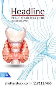 Realistic thyroid gland in low poly. Human 3d thyroid, gland, larynx, isthmus, trachea. Book cover A4 design. Annual report. Academic journal or conference. Flyer for magazine. Vector Illustration.