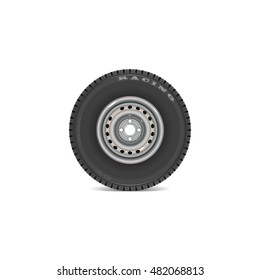 Realistic tires with pressed disc. Vector eps 10.
