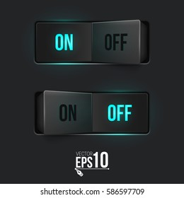 Realistic toggle switch. Black switches with backlight, on/off - position. Vector illustration.