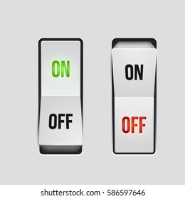 Realistic toggle switch. White switches with backlight, on/off - position. Vector illustration.