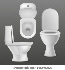 Realistic toilet bowl. White toilet basin, clean lavatory bathroom ceramic bowls group top, side and front view. Toilet seating interior equipment vector mockups