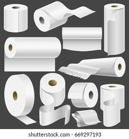 Realistic toilet paper roll and kitchen towel template mock up set isolated vector illustration blank white 3d packaging