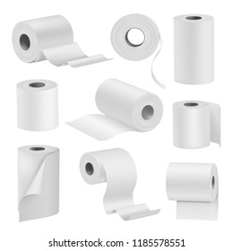 Realistic toilet paper in rolls, white set. Sanitary absorbent paper, rolled around a cardboard cylinder. Vector 3D illustration isolated on white background