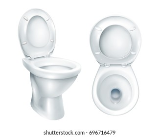 Realistic toilet top view and general mockup with raised plastic seat on white background isolated vector illustration