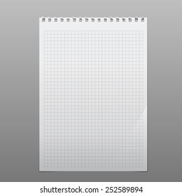 realistic torn blank squared sheet. square perforation above. portrait orientation