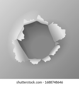 Realistic torn grey paper page, round hole with jagged edges in sheet, vector illustration