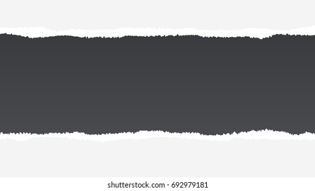 Realistic torn open paper with space for text on black background, holes in paper. Torn strip of paper with uneven, torn edges