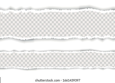 realistic torn paper. A piece of torn, white realistic horizontal paper strip with a soft shadow is on a square background.