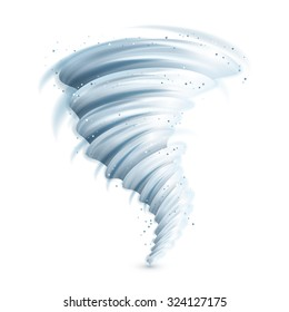 Realistic tornado swirl isolated on white background vector illustration