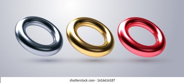 Realistic torus shapes. Vector geometric illustration. 3d multicolored metallic rings collection. Geometric primitives. Decoration elements for minimal cover or poster design