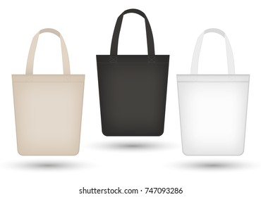 Realistic tote bag set. 3d fabric, canvas, shopping sack bags collection black, beige. Isolated on white background. Mosk-up for your product design. Vector illustration