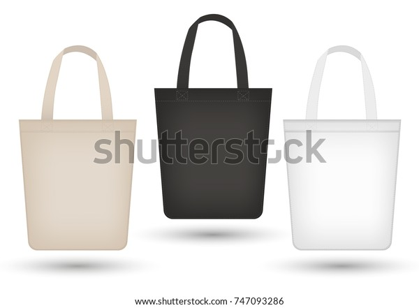 Realistic Tote Bag Set 3d Fabric Stock Vector (Royalty Free