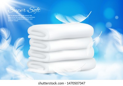Realistic towels background. Vector white towels with feathers. Illustration of cotton towel for bathroom or sauna