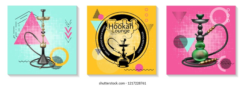 Realistic Traditional Hookah Cards Set