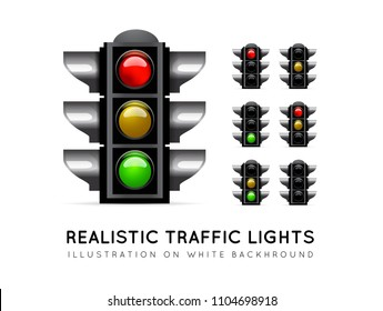 Realistic traffic light on a white background, in various color variations. Stoplight vector for serves to properly observe the traffic of vehicles and people