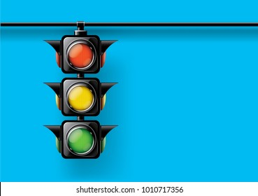 Realistic traffic lights isolated on blue background,design concept for start up, business solutions,development and innovation, creativity, icon, Vector,eps10