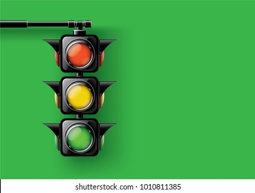 Realistic traffic lights isolated on green background,design concept for start up, business solutions,development and innovation, creativity, icon, Vector,eps10