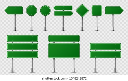Realistic traffic signs on metal steel pole isolated. Diffrent green road panels mockup - direction highway, board text, city location, street arrows, stop, danger, warning signage. Vector
