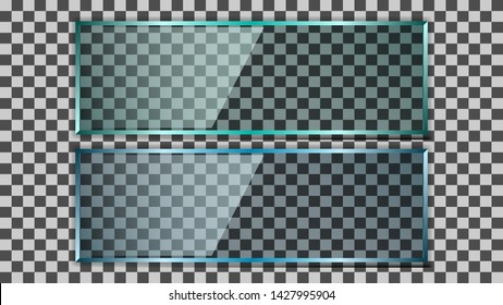 Realistic transparent blue and green glass plate, sign board isolated on background. Vector Illustration