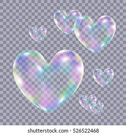 Realistic transparent colorful soap  bubbles in form of the  heart isolated on checkered background.Symbol of love. Design element for romantic valentines day card. Vector texture.