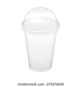 Realistic Transparent Disposable Plastic Cup With Lid. For various drinks, lemonade, fresh, coffee or ice cream. Mock up for brand template. vector illustration.