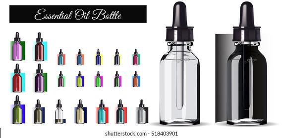 Realistic Transparent Essential Oil Bottle. Mock up Bottle. Cosmetic vial, flask.