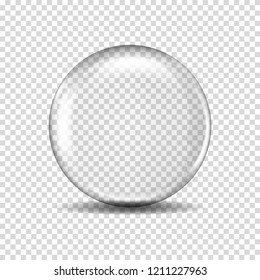 Realistic transparent glass ball, isolated