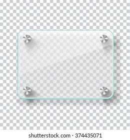 Realistic transparent glass frame on light grey background. Vector eps10 illustration