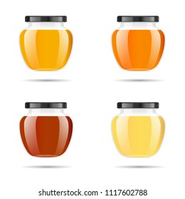 Realistic transparent glass jar with honey. Food bank. Honey packaging design. Honey logo. Mock up glass jar with design label or badges. Premium food product. Vector illustrations