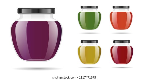 Realistic transparent glass jar with jam, confiture or sauce. Preserving packaging set. Label and logo for jam. Mock up jar with design label or badges. Vector illustrations