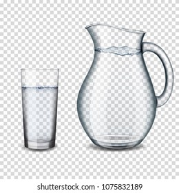 Realistic transparent glass jug of water, isolated