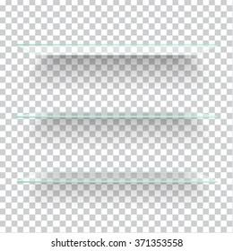 Realistic transparent glass shelves on light grey background. Vector eps10 illustration