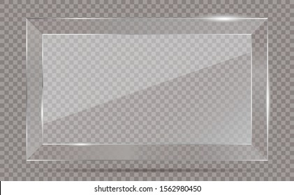 Realistic transparent glass window in rectangle frame
