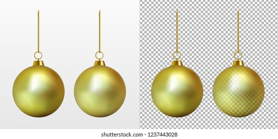 Realistic transparent gold Christmas ball. New year toy.