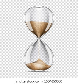 Realistic transparent hourglass, isolated on transparent background.