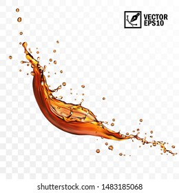 Realistic transparent isolated vector falling splash of tea, coffee or cola