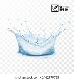 Realistic transparent isolated vector splash of water with drops, crown, editable handmade mesh