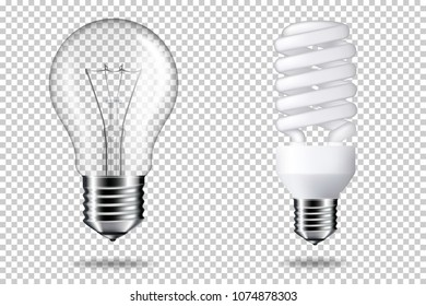Realistic transparent light bulb, isolated.