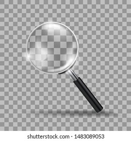 Realistic Transparent Modern Magnifying Glass Isolated On Background. EPS10 Vector