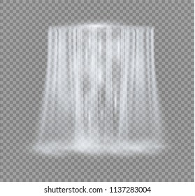 Realistic Transparent, Nature, stream of waterfall with clear water and bubbles isolated on transparent background. Natural element for design landscape image. Vector illustration.