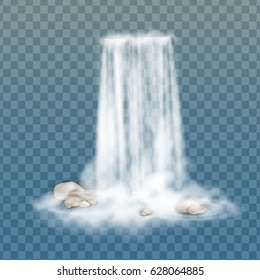 Realistic Transparent, Nature, stream of waterfall with clear water, stone  and bubbles isolated on transparent background. Natural element for design landscape image. Vector illustration.