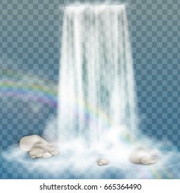Realistic Transparent, Nature, stream of waterfall with clear water, stone, bubbles, rainbow isolated on transparent background. Natural element for design landscape image. Vector illustration.