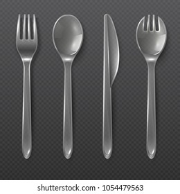 Realistic transparent plastic cutlery. Spoon, fork and knife isolated. Disposable tableware vector set. Spoon and fork, knife plastic for dining illustration