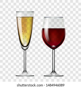 Realistic Transparent Red Wine And Champagne Glass. EPS10 Vector