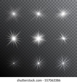 Realistic transparent shine and sparkle light effects. Vector illustration