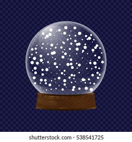 realistic transparent snow globe. concept of magical 3d decor, seasonal present, wood stand, wooden pedestal, decorative object, blizzard. flat style trend logo graphic clear design art on background