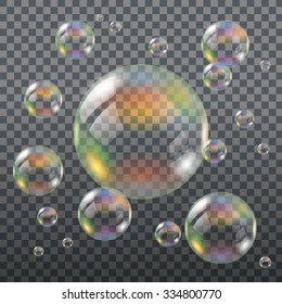 Realistic Transparent Soap Bubbles with Rainbow Reflection