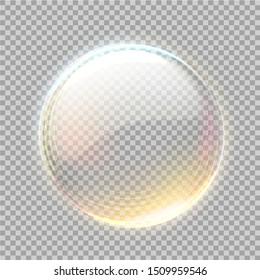 Realistic transparent sphere with golden glowing bubble on transparent background. Vector glossy bubble, 3d orb. 3d abstract circle for your design.