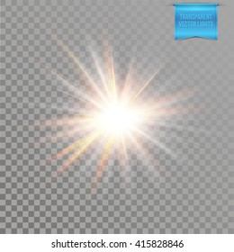 Realistic transparent starburst lighting effect with radiating rays around a bright explosive centre, vector illustration