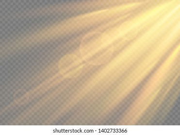 Realistic transparent sunlight special lens flash light effect.front sun lens flash. Vector blur in the light of radiance. Element of decor. EPS 10 illustration